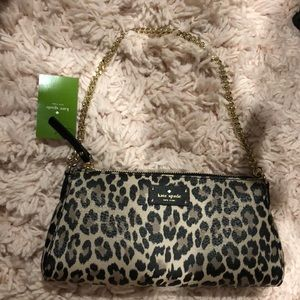 Kate spade leopard clutch with gold chain
